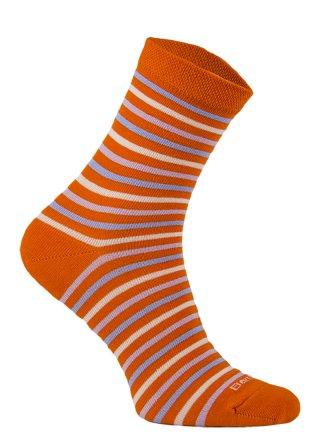 Damskie Skarpety Bambusowe - w kolorowe paski - pomarańczowy