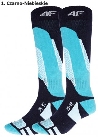 Damskie termoaktywne skarpety narciarskie 4F COMFORT - ciepłe - czarno-niebieski
