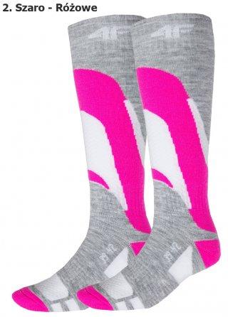 Damskie termoaktywne skarpety narciarskie 4F COMFORT - ciepłe - popielato-różowy