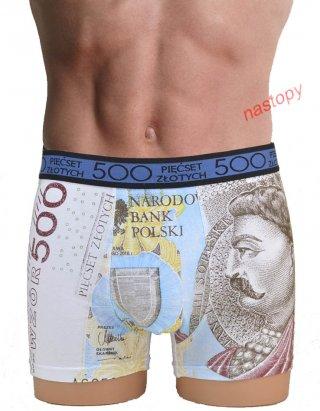 Bokserki męskie bawełniane, wzór BANKNOTÓW  - Wzór 500zł
