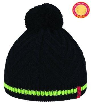Czapka Zimowa BRBL DOLOMITI ciepła, na mroźne dni, z Pomponem, 50% Merino Wool  - czarny