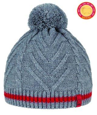 Czapka Zimowa BRBL DOLOMITI ciepła, na mroźne dni, z Pomponem, 50% Merino Wool  - szary