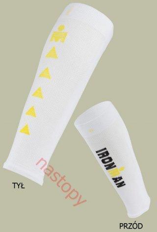 Ironman CALFGUARD PRO opaski kompresyjne BREEZE Chłodzące - biało-żółty