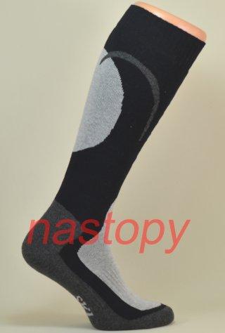 Skarpety Narciarskie SKI CARVE - komfortowe i ciepłe - czarno-szary