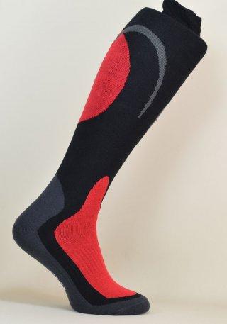 Skarpety Narciarskie SKI CARVE - komfortowe i ciepłe - czarno-czerwony