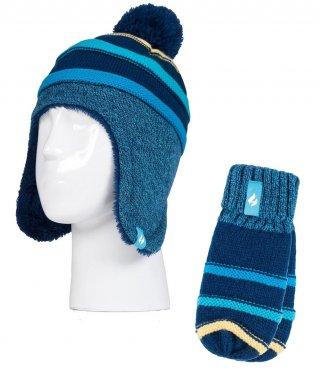 Komplet Zimowy HEAT HOLDERS dla DZIECKA - BARDZO CIEPŁY, czapka + rękawiczki, 3-6 lat - navy