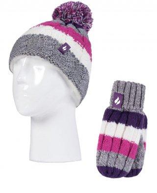 Komplet Zimowy HEAT HOLDERS dla DZIECKA - BARDZO CIEPŁY, czapka + rękawiczki, 3-6 lat - purple