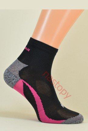 ACTIVE Sportowe Oddychające - lekko ponad kostkę - czarno-różowe