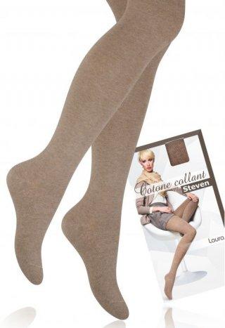 Rajstopy bawełniane LAURA ciepłe, kryjące, dla kobiet o wzroście: 168-182 cm - beżowy