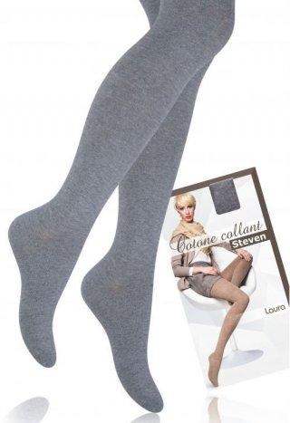 Rajstopy bawełniane LAURA ciepłe, kryjące, dla kobiet o wzroście: 156-168 cm - szary