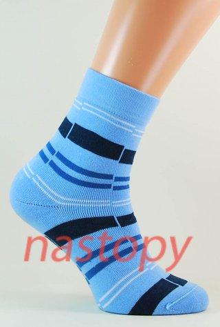Skarpetki Damskie WOMEN FROTTE w paski, ciepłe, bawełna - błękitny