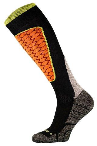 Skarpety Narciarskie COMODO SKI PERFORMANCE SK1 termiczne, wytrzymałe, 6 kolorów - czarno-pomarańczowy