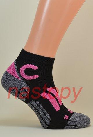 Quarter Sport Socks Anatomiczne Oddychające Włoskie - czarno-różowe