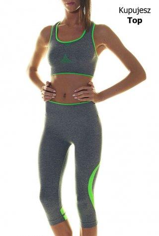 Sportowy Top Damski - Fitness, Cross Fit, Bieganie. - szaro-zielony