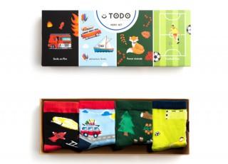 Zestaw dziecięcych skarpet HERO SET - Strażak, Podróż, Forest, Football - 4 pary  - Hero Set
