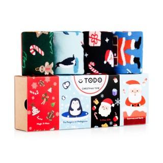 Świąteczne kolorowe skarpety CHRISTMAS TIME - Mikołaj, Pingwiny, Prezenty - ZESTAW 4 pary - Christmas Time