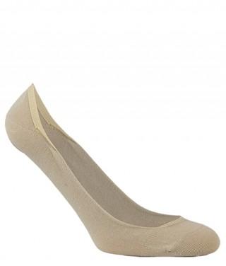 Stopki damskie bawełniane BALETINA do balerinek, z silikonową zapiętką - antybakteryjne - kremowy
