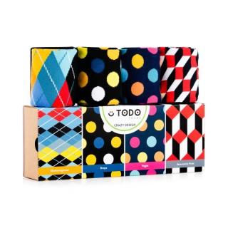 Zestaw kolorowych skarpet CRAZY DESIGN - Grochy, Kropki, Wzory - 4 pary - Crazy Design