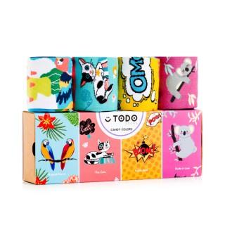 Zestaw kolorowych skarpet CANDY COLORS - Koala, Koty, Papugi, Komiks - 4 pary - Candy Colors