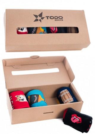 Męski zestaw kolorowych skarpet Todo HARDY BOYS - piwo, whisky, pieseł, rock&roll - 4 pary - Hardy Boys