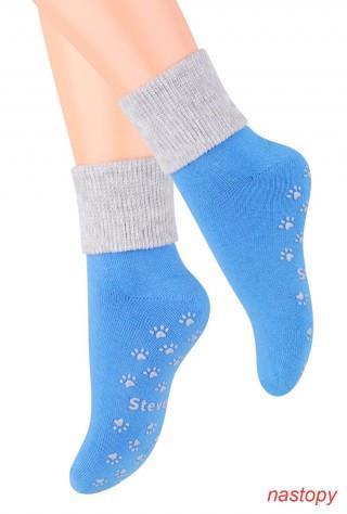 Skarpety Antypoślizgowe dziecięce z ABS dla najmłodszych - niebiesko-szary