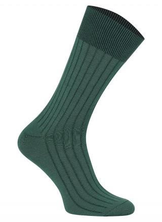 Skarpetki Estera - 78% bawełny egipskiej Mako w paski - zielony
