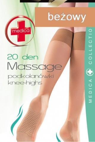 Podkolanówki (20den) Massage z masażem stóp - beżowy