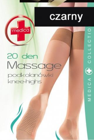 Podkolanówki (20den) Massage z masażem stóp - czarny