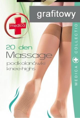 Podkolanówki (20den) Massage z masażem stóp - grafitowy