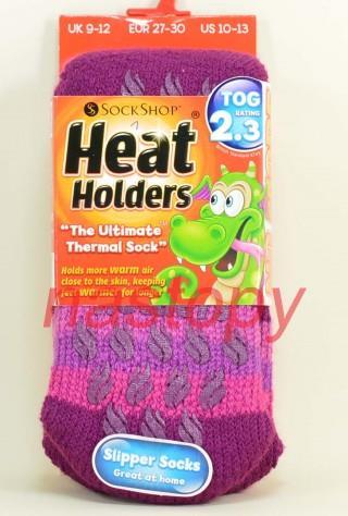 Najcieplejsze na Świecie Skarpety Heat Holders KIDS ABS ANTYPOŚLIZGOWE dla Dzieci - lavender
