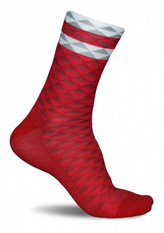 Profesjonalne skarpety kolarskie ASYMMETRIC RED - wysokie, oddychające - Asymmetric Red
