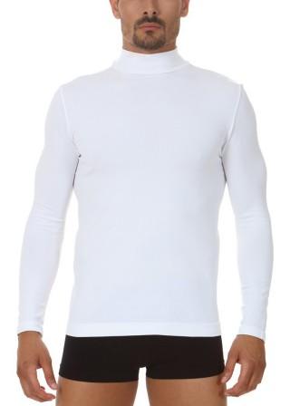 Półgolf męski z długim rękawem termoaktywny, włoski M6 - Bianco