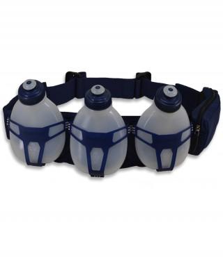 Profesjonalny pas biegowy z 3 butelkami i saszetką, H3O Helium, pojemność: 600ml - Blue