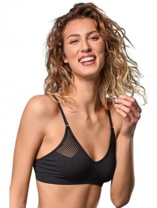 Biustonosz siateczkowy elastyczny, Bralette Rete  - Nero