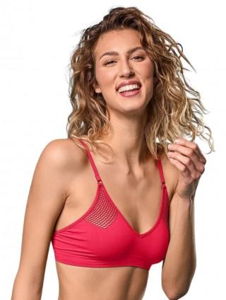 Biustonosz siateczkowy elastyczny, Bralette Rete  - Fragola