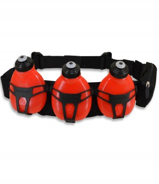 Profesjonalny pas biegowy z 3 butelkami i saszetką, H3O Helium, pojemność: 600ml - Black/Red
