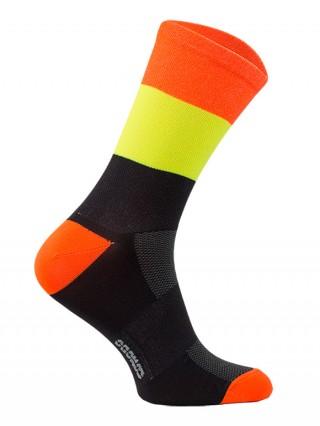 Skarpety termoaktywne KOLARSKIE w PASY, neonowe, wysokie: czarno-pomarańczowe - czarno-pomarańczowe