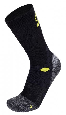Skarpety trekkingowe BRBL New KODIAK-2, ciepłe i wytrzymałe, 30% Wełna Merino - Black-Yellow