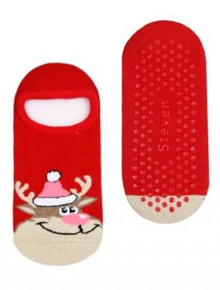 Dziecięce, ŚWIĄTECZNE stopki frotte antypoślizgowe -RENIFER w czapce - czerwony