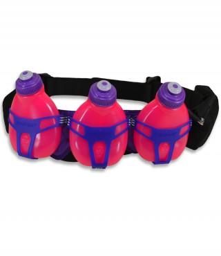 Profesjonalny pas biegowy z 3 butelkami i saszetką, H3O Helium, pojemność: 600ml - Pink/Grape