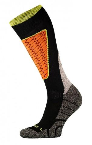 DZIECIĘCE skarpety narciarskie SK1  KIDS, ciepłe i komfortowe 5 kolorów  - czarno-pomarańczowy