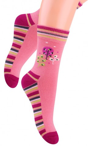 Ciepłe skarpety dziecięce frotte - kolorowe LISTKI i PASECZKI - różowy