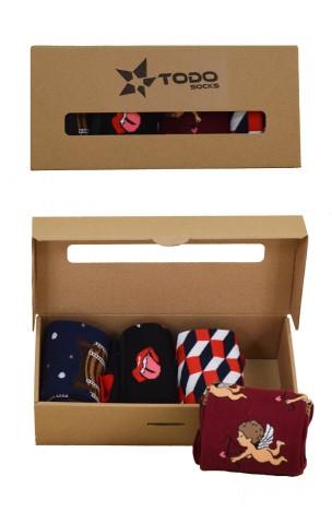 Love Box for him zestaw kolorowych skarpet Todo dla mężczyzny (4pary) Piwo, Amor, Kwadraty, Rock&Roll - Love Box for him-męski