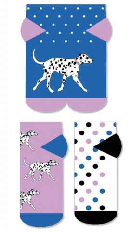 Kolorowe STOPKI Wild Feet - DALMATYŃCZYK - 3 pary !!! - T3102-Dalmatyńczyk