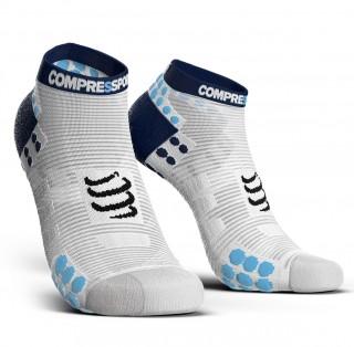 Stopki do biegania Compressport Racing Socks V3.0 Run Low White/Blue - White/Blue
