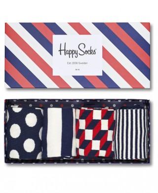 Kolorowe skarpetki  Happy Socks - Zestaw Geometryczny, 4 pary - Zestaw Geometryczy