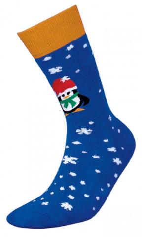 Męskie skarpetki frotte - O!SKAR Pingwin niebieski - niebieski