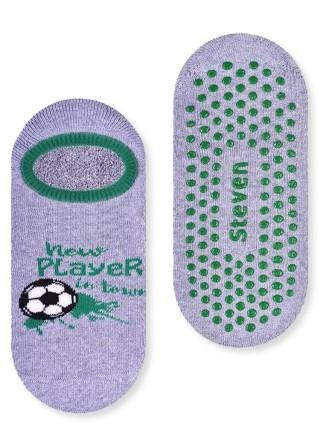 Chłopięce stopki frotte ANTYPOŚLIZGOWE- FOOTBALL wzór z piłką nożną - popielaty
