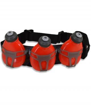 Profesjonalny pas biegowy z 3 butelkami i saszetką, H3O Helium, pojemność: 600ml - Red/Carbon
