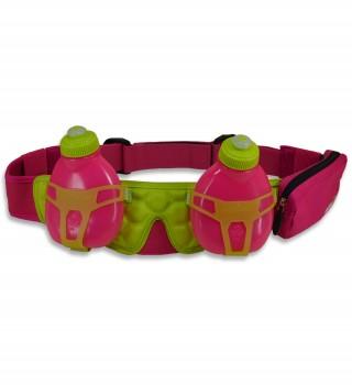 Pas biegowy z 2 butelkami i saszetką, H2O Helium, pojemność: 400ml - Pink/Green